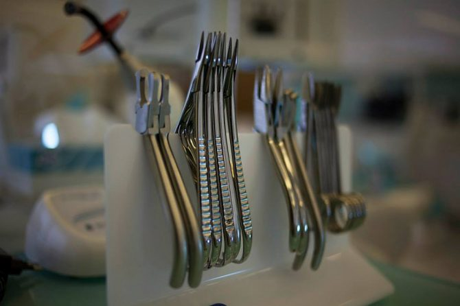 Tools and equipment sterilization in Orthodontist's office.